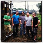the requisite 'railroad tracks' band photo